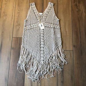 EASEL-Crochet Knitted Sleeveless Tunic w/ Fringe